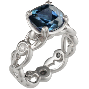 Delicate Leaf Engagement Ring with Malawi Sapphire