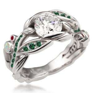 Garden Trellis Engagement Ring with forest green diamonds
