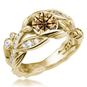 Garden Trellis Engagement Ring Yellow Gold Champagne Diamond