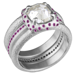 Future Relic Bridal Set with Purple Accent Stones and Rose Cut Diamond
