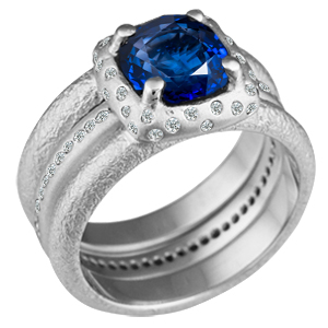 Future Relic Bridal Set with diamond accents and Blue Sapphire