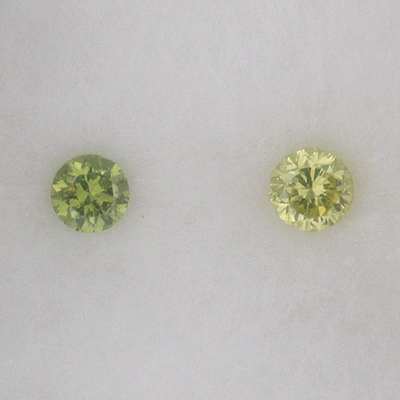 Greenish Yellow Diamond and Green Apple Diamond Comparison
