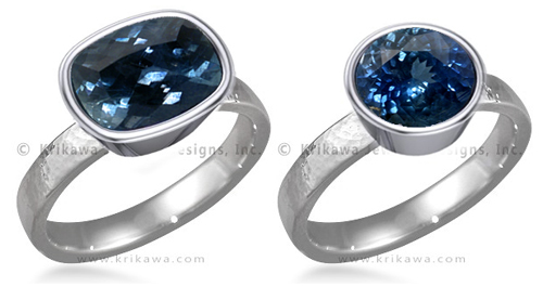 hammered engagement ring full bezel blue sapphire