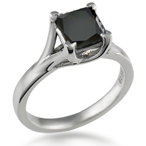 Angel Solitaire Engagement Ring with Black Diamond