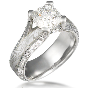 Juicy Cathedral Engagement Ring White Diamonds White Mokume