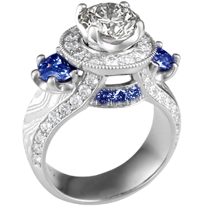 Unique blue sapphire and diamond ring