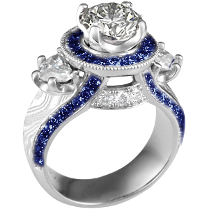 Unique Diamond and Sapphire Engagement Ring