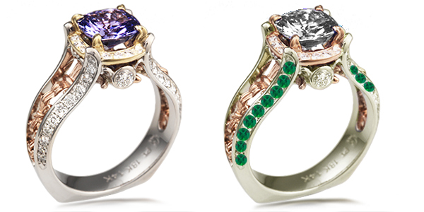 compare green gold and emeralds to platinum and diamonds