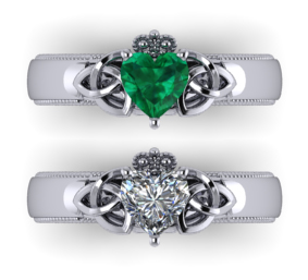 knotted claddagh with heart shaped emerald or diamond