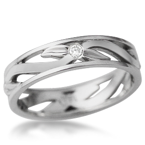 Leaves and Berries Wedding Band with Bezel Set Diamond