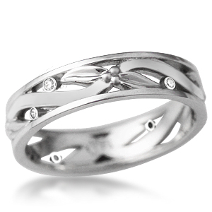 Leaves and Berries Wedding Band with Bezel Set Diamonds