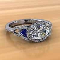 Vintage Old World Engagement Ring with oval diamond and sapphires