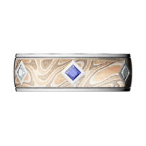 Custom Champagne Mokume Band with Diamond and Sapphire Accents