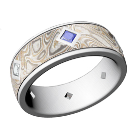 Custom Mokume Band with Sapphire and Diamond Accents 1
