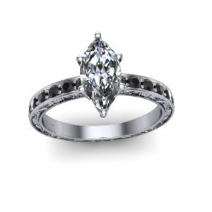 marquise diamond on black diamond engagement ring