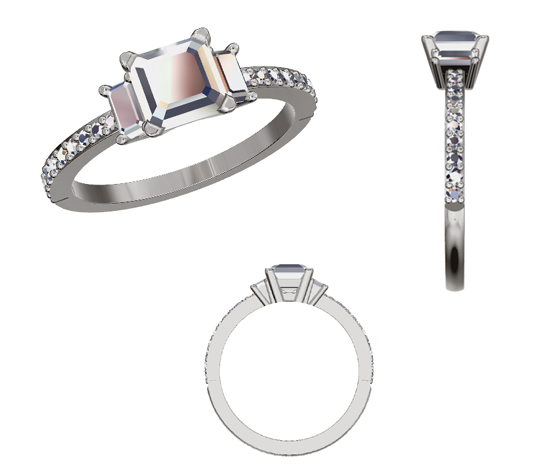 Asscher cut diamond with two baguettes engagement ring
