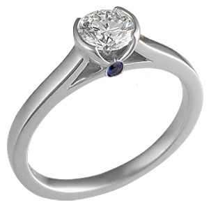 Modern Cathedral Bezel Engagement Ring in Platinum with Surprise Stone
