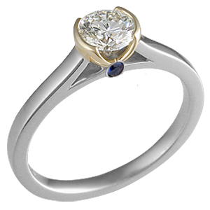 Modern Engagement Ring with Yellow Gold Head and Blue Sapphire Surprise Stone