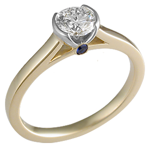 Modern Cathedral Bezel Engagement Ring Two-Tone with Surprise Stone