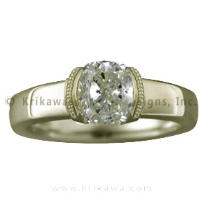 Modern Millegrain Engagement Ring in Yellow Gold with Light Yellow Diamond