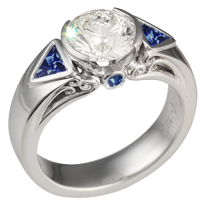 Modern Carved Curls Engagement Ring with Sapphires