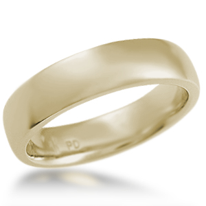 Modern Wedding Band Plain 14k Yellow Gold