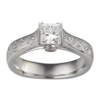 Iced Mokume Cathedral Engagaement Ring with Princess Cut Diamond and scattered Diamond Accents