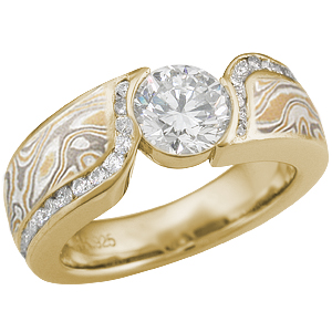 Double Wave Summer Mokume Engagement Ring with Diamonds