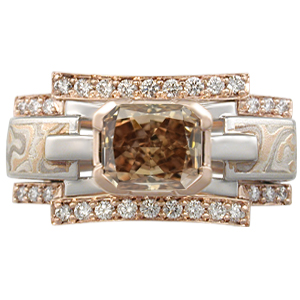 Mokume Falling Waters Engagement Ring with Dark Orangy Brown Diamond