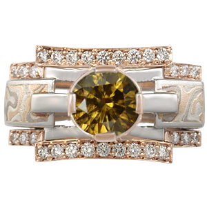 Mokume Falling Waters Engagement Ring with Round Olive Diamond