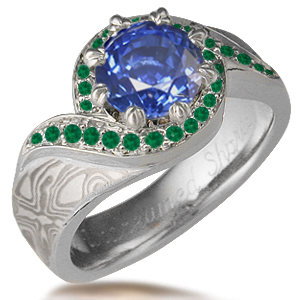 Emerald Pave Swirl Mokume Engagement Ring with Lab Sapphire