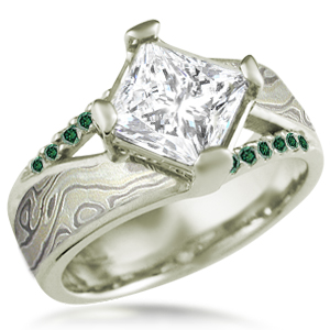 Mokume Venetian Engagement Ring in Green Gold