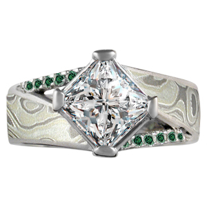 Winter Mokume Venetian Engagement Ring Top View