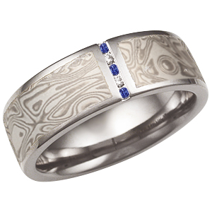 White Mokume Wedding Band with Vertical Diamond and Sapphire Channel