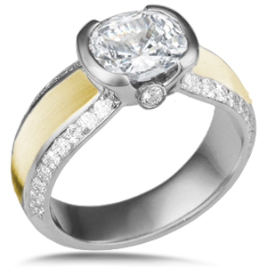 Diamond Silhouette Engagement Ring with 18k Brushed Gold