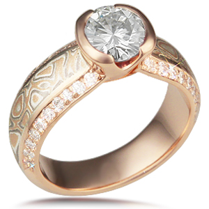 Mokume Diamond Silhouette Engagement Ring