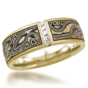 Darkened Summer Mokume Diamond Wedding Band with Vertical Channel