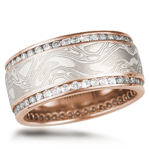White Mokume Double Channel Wedding Band Rose Gold