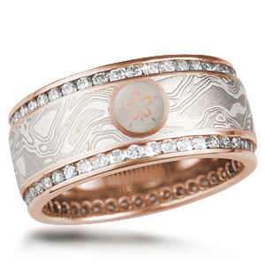 mokume double Diamond Channel Wedding Band with Sand Dollar Symbol