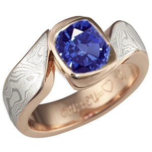 Mokume Swirl Engagement Band with Blue Stone