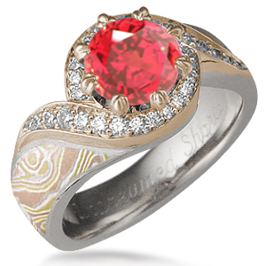 Pave Swirl Autumn Mokume Engagement Ring with Padparadscha Sapphire