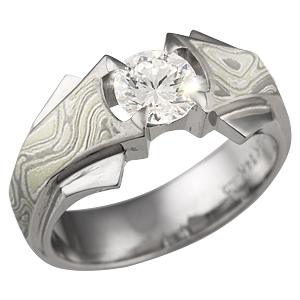 Winter Mokume Bat Ring