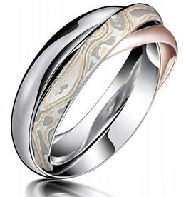 Rose Gold Mokume Rolling Ring Mockup