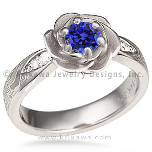 Mokume Rose Blossom Engagement Ring with Blue Sapphire