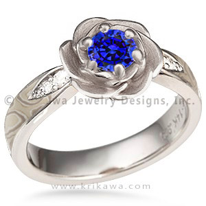 Blue Sapphire Rose Blossom Engagement Ring