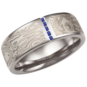 White Mokume Wedding Band with Sapphire Vertical Channel