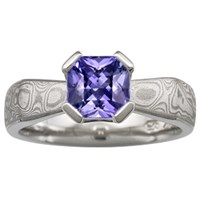 Mokume Solitaire Angled Tapered Engagement Ring