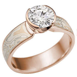 Mokume solitaire straight tapered rose gold
