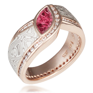 Mokume Wave Diamond Crossing Engagement Ring with Pink Tourmaline