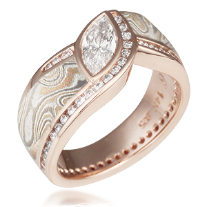 Champagne Mokume Wave Diamond Crossing Engagement Ring